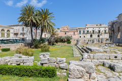 Temple of Apollo, ancient Greek monument in Syracuse, Sicily Stock Photo