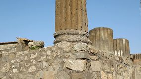 Temple of Apollo at closer look showing parts and columns in details, sequence. Stock footage stock footage