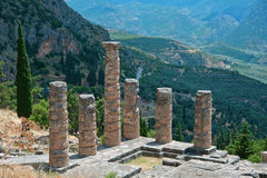 Temple Apollo columns in Delphi, Greece Royalty Free Stock Images