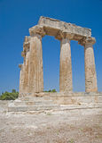 Temple of Apollo at Corinth. The doric columns of the temple of Apollo in Corinth, Greece stock image
