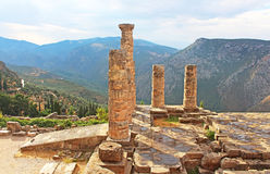 Temple of Apollo in Delphi, Greece. Delphi is both an archaeological site and a modern town in Greece on the south-western spur of Mount Parnassus in the Stock Photos