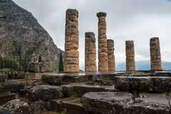 The temple of Apollo, Delphi, Greece. Ruins of the ancient city Delphi, Greece Royalty Free Stock Images
