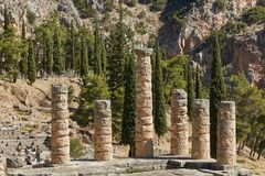 The Temple of Apollo at Delphi, Greece in a summer day. royalty free stock images