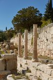 The Temple of Apollo at Delphi, Greece in a summer day. royalty free stock photo