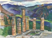 Temple of Apollo. At Delphi. Greece. watercolor Stock Image