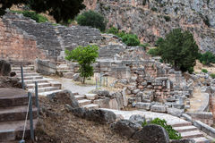 Temple of Apollo at Delphi. The ruins of the archaeological site of Delphi in Greece Royalty Free Stock Images