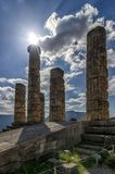 Temple of Apollo god of sun in greek mythology in Delphi, Greece Royalty Free Stock Photos