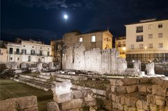 Temple of Apollo by night in Ortygia - Siracuse royalty free stock image