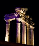 Temple of Apollo at night, Side, Turkey Stock Photography