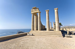 Temple of Apollo at Rhodes island. Ancient temple of Apollo at Lindos, Rhodes island, Greece Stock Image