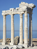 Temple of Apollo - Side, Antalia. Temple of Apollo - ancient columns against the sea Royalty Free Stock Photos