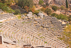 Temple of Apollo and the theater at Delphi oracle archaeological Stock Images