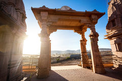 Temple arch in India. Indian temple arch at sunset in Nasik, Maharashtra, India Royalty Free Stock Photo