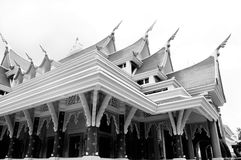 Temple Architecture monochrome. Detail of a traditional buddhist temple roof  thaiand monochrome Royalty Free Stock Photography