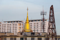 Temple around with new building. Stock Photo
