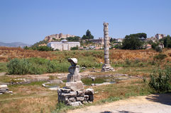 Temple of Artemis. Ruins one of seven miracle of world for antique people stock photo