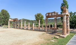 The Temple of Artemis at Brauron in Attica, Greece. The sanctuary of Artemis at Brauron is an early sacred site on the eastern coast of Attica near the Aegean royalty free stock photos