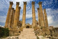 The Temple of Artemis in Jerash. Jordan. Jerash (the Roman ancient city of Geraza). Corinthian columns of the Temple of Artemis Royalty Free Stock Photography