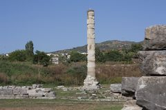 Temple of Artemis one of the seven wonder of the ancient world - Selcuk, Turkey . Storks nest in an old colony in the middle of a stock photography