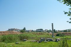 The ruins of the temple of Artemis, one of the seven wonders of the ancient world. Selcuk, Turkey, our days stock images