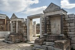 Temple of Artemis at Sardes Lydia Ancient City in Salihli, Manisa, Turkey.  stock image