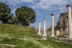 Temple of Artemis at Sardes Lydia Ancient City in Salihli, Manisa, Turkey.  stock images