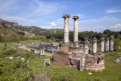 Temple of Artemis, Sardis. Sardes Lydia Ancient City in Salihli. Ruins of the temple of Diana or Artemis in ancient Sardis, a city of the Roman Empire in modern stock image