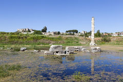 Temple of Artemis. Selcuk. Turkey. Temple of Artemis is one of the 7 wonders of the world of antiquity. Once he was located in the ancient Greek city of Ephesus Stock Photo