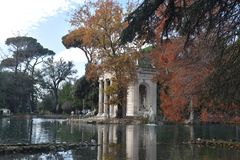 Temple of Asclepius, Villa Borghese, Rome Italy. The Temple of Asclepius, VIlla Borghese, Rome, Italy, November 30th, 2017 stock photo