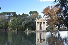Temple of Asclepius, Villa Borghese, Rome Italy. The Temple of Asclepius, VIlla Borghese, Rome, Italy, November 30th, 2017 royalty free stock images