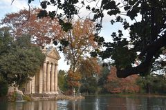 Temple of Asclepius, Villa Borghese, Rome Italy. The Temple of Asclepius, VIlla Borghese, Rome, Italy, November 30th, 2017 royalty free stock photography