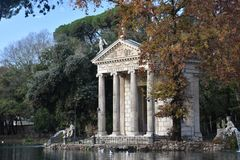 Temple of Asclepius, Villa Borghese, Rome Italy. The Temple of Asclepius, VIlla Borghese, Rome, Italy, November 30th, 2017 royalty free stock image