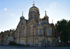 Temple of the Assumption of the Blessed Virgin. Stavropigial orthodox church on Vasilievsky island of St. Petersburg stock photo