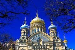 Temple of Assumption on Leytenanta Shmidta Emb. Saint-Petersburg, Russia. Stock Photo