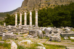 Temple of Athena. Historic Ruins Temple of Athena at Priene, Turkey Royalty Free Stock Images