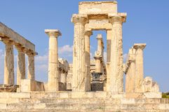 Temple of Aphaia - Aegina. The Temple of Athena Aphaia is one of the ancient architectural wonders - Aegina, Greece Stock Photos