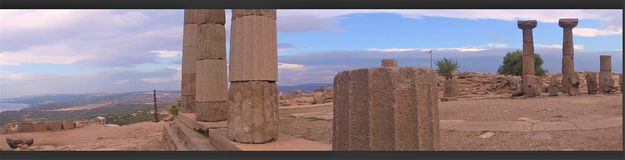 Temple of Athena in Assos, panorama view. Temple of Athena in Assos in Turkey Royalty Free Stock Photo