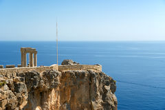 Temple of Athena Lindia at the Acropolis of Lindos, Rhodes Stock Photography