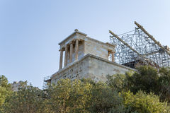 Temple of Athena Nike. Nike means victory in Greek, and Athena was worshiped in this form, as goddess of victory in war and wisdom, on the Acropolis in Athens stock photography