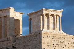 Temple of athena nike. Propylaea of acropolis Royalty Free Stock Photography
