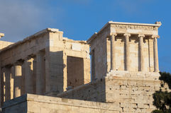Temple of athena nike. Propylaea of acropolis Stock Photos