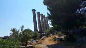 The Temple of Athena Polias, Priene Ancient City. There are Hellenistic architecture examples in Priene. It is one of the best examples of where Hippodamus grid Stock Images