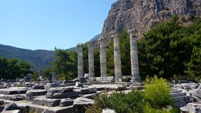 The Temple of Athena Polias, Priene Ancient City. There are Hellenistic architecture examples in Priene. It is one of the best examples of where Hippodamus grid Stock Photos