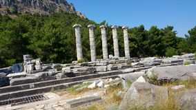The Temple of Athena Polias, Priene Ancient City. There are Hellenistic architecture examples in Priene. It is one of the best examples of where Hippodamus grid Stock Photography