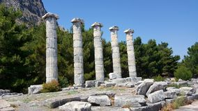 The Temple of Athena Polias, Priene Ancient City. There are Hellenistic architecture examples in Priene. It is one of the best examples of where Hippodamus grid Royalty Free Stock Photography