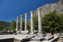 The Temple of Athena in Priene, Turkey. The Temple of Athena, funded by Alexander the Great in Priene, Turkey Royalty Free Stock Image