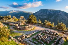 Temple of Athena Pronaia in ancient Delphi, Greece stock photography