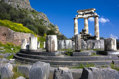Temple of Athena Pronea, Delphi, Greece. Image of the ancient Temple of Athena Pronea, a UNESCO world heritage site located at Delphi, Greece Royalty Free Stock Photography