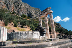 Temple of Athena pronoia at Delphi oracle archaeological site Royalty Free Stock Photo