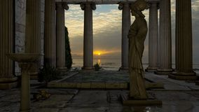 Temple of Athena. Recreation of a mystical lost mythological temple Stock Photography